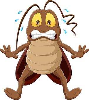 Испуганный мультфильм таракана на белом фоне