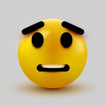 Scared emoji isolated on white, shocked emoticon.