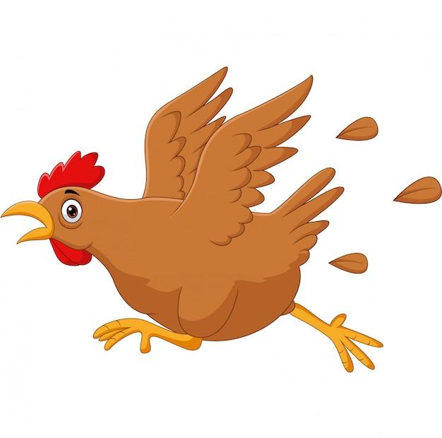 Scared funny cartoon chicken running