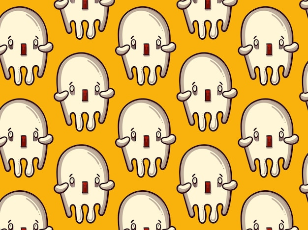 Scared ghost pattern, yellow background