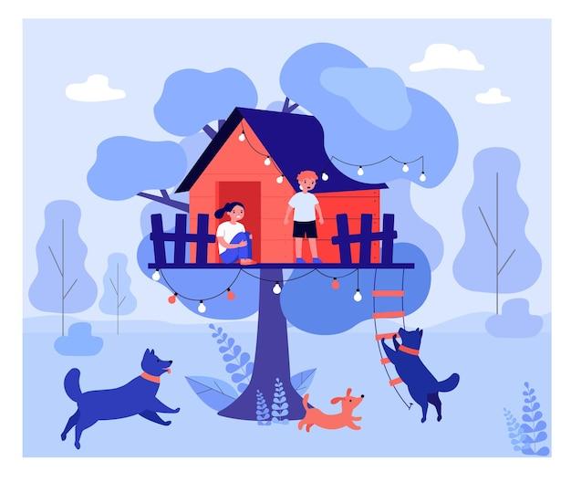 개에게서 나무 집에 숨어있는 겁 먹은 아이들. 공원, 공격, 사다리 평면 벡터 일러스트 레이 션. 배너, 웹 사이트 디자인 또는 방문 웹 페이지에 대한 위험한 동물 및 안전 개념