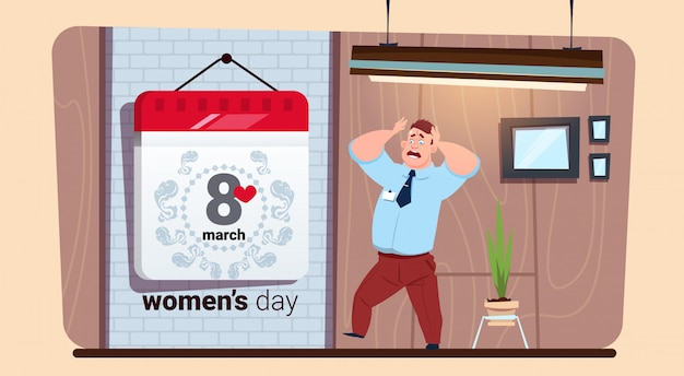 Scared man looking at calendar 8 march happy women day creative greeting card