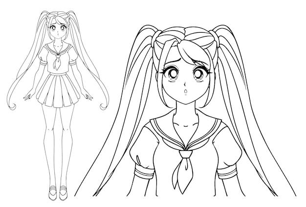 日本の制服を着たおさげ髪とおさげ髪の怖い漫画の女の子。手描きイラスト。