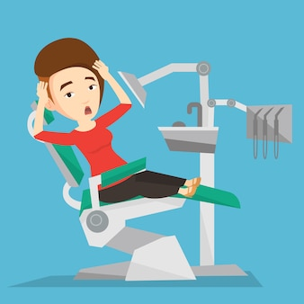 Scared patient in dental chair illustration