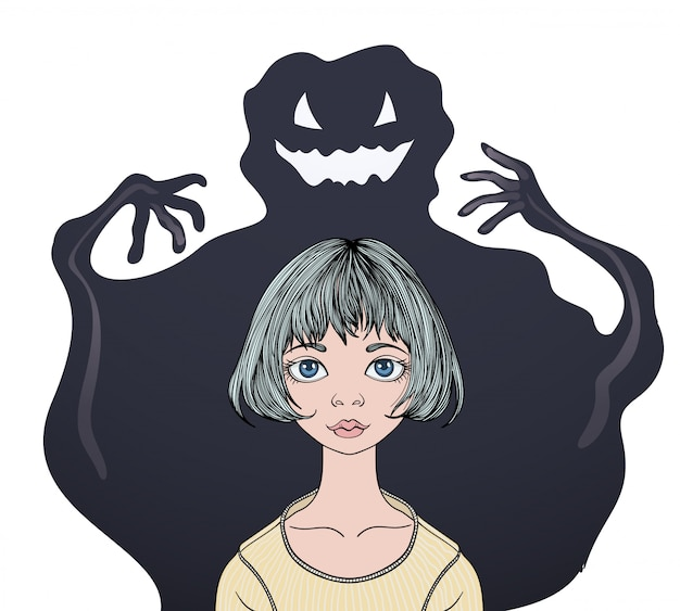 Scared teenage girl in front of a monster ghost.