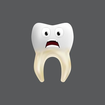 Scared tooth with a tissue grafting. cute character with facial expression. funny  for children's design.  realistic  illustration of a dental ceramic model isolated on a grey background