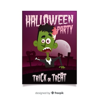 Scared zombie halloween poster template