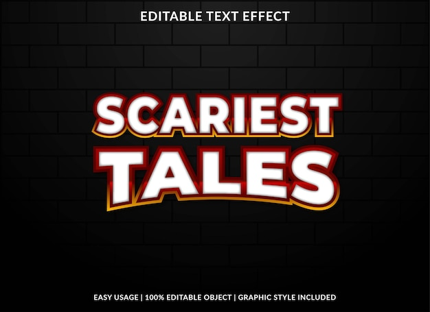 Scariest tales text effect template premium vector