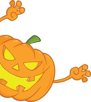 Scaring halloween pumpkin looking around a sign