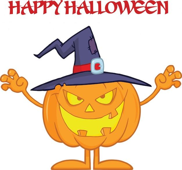 Scaring halloween pumpkin с шляпой ведьмы и текстом