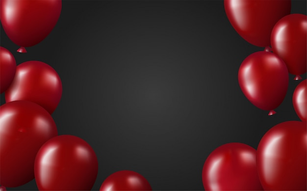 Scarlet balloons on black background template poster