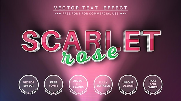 Scarlet rose editable text effect font style