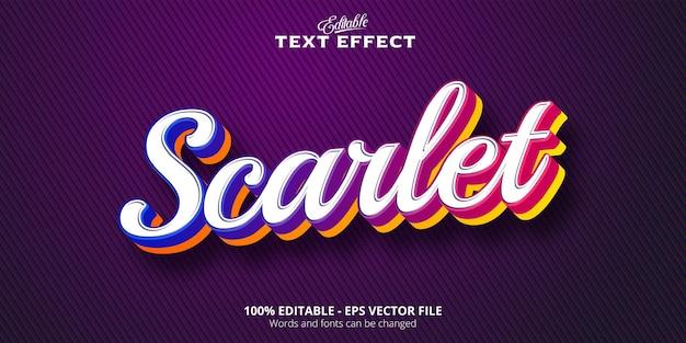 Scarlet text, editable text effect