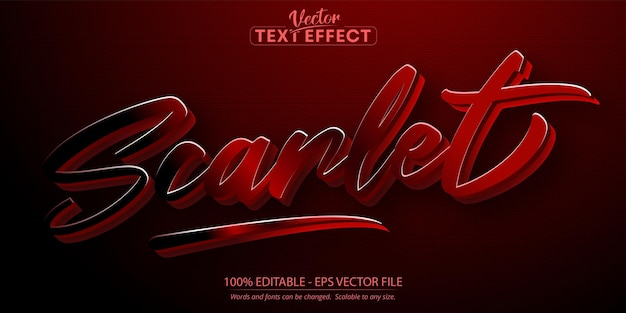 Scarlet text, minimalistic and calligraphic style editable text effect