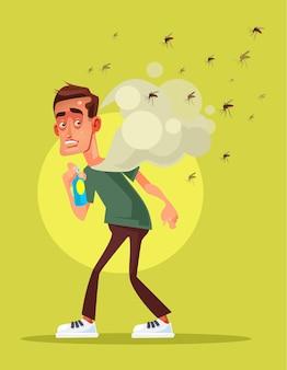 Страшно испуганный человек борется с насекомым с помощью иллюстрации шаржа спрей