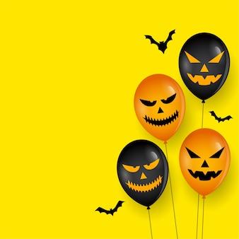 Palloncino spaventoso e pipistrelli su happy halloween card
