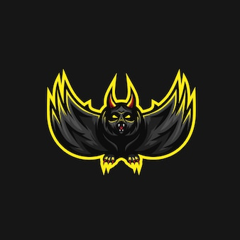 Scary bat premium vector logo