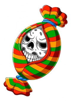 Scary candy skull head cartoon