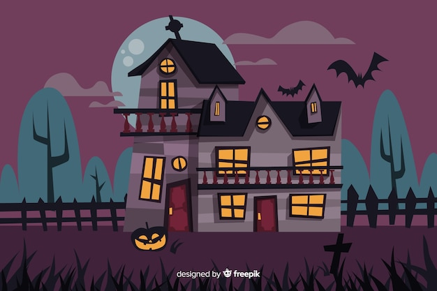 Scary cartoon halloween haunted house