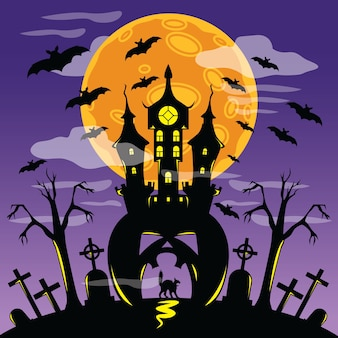 Scary castle in halloween poster