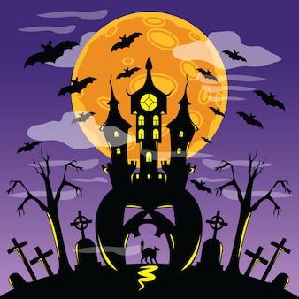 Страшный замок в плакате на хэллоуин