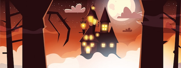 Scary castle with moon in scene of halloween banner