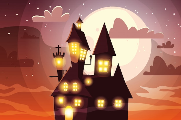Scary castle with moon in scene of halloween
