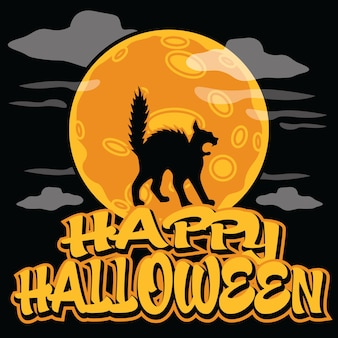 Scary cat on fullmoon halloween poster