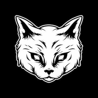 Страшная иллюстрация головы кошки