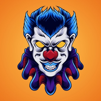怖いピエロの頭のイラスト