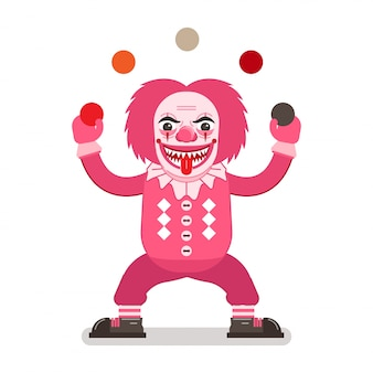 Scary clown in pink costume, sharp teeth and tongue out juggling balls