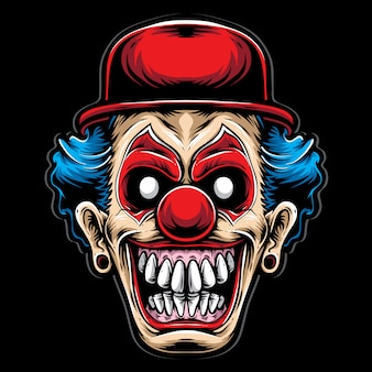 Scary clown with red hat