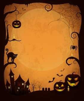 Scary dark halloween poster. haunted house, evil pumpkins, glowing candles, creepy cat and spiders, bats flying and large moon
