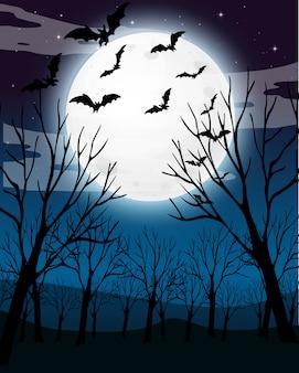 무서운 어두운 밤 숲 배경