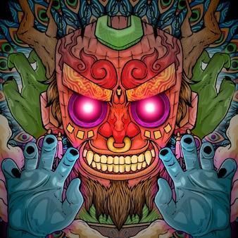 Scary demon tiki head illustration