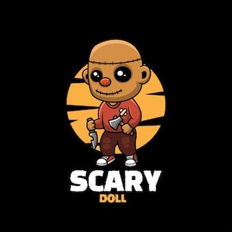 무서운 인형 크리에이 티브 할로윈 만화 캐릭터 마스코트 로고
