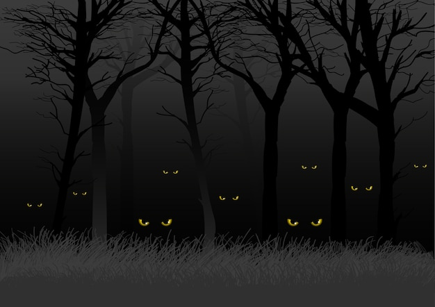 Страшные глаза смотрят и скрываются от темных лесов Premium векторы