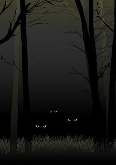 어두운 숲에서 쳐다보고 숨어있는 무서운 눈