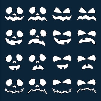 Scary faces of halloween pumpkin or ghost collection