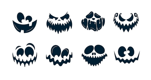 Страшные лица тыквы или призрака хэллоуина. векторная коллекция.