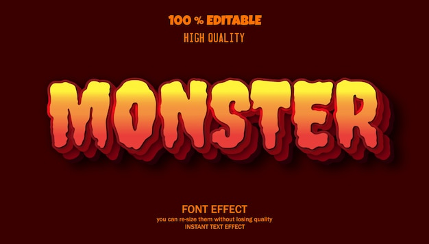Scary font effect template. halloween font