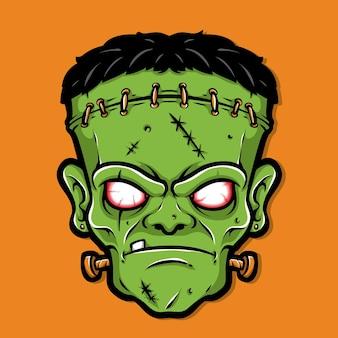 Scary frankenstein head cartoon vector