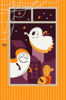 무서운 유령이 밤 도시를 배경으로 창 밖으로 날아갑니다. 방 장식 두개골, 거미, 웹, 재미있는 괴물. 플랫 벡터 일러스트 레이션
