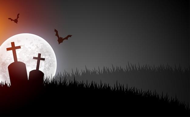 달과 날아다니는 박쥐가 있는 무서운 묘지 장면