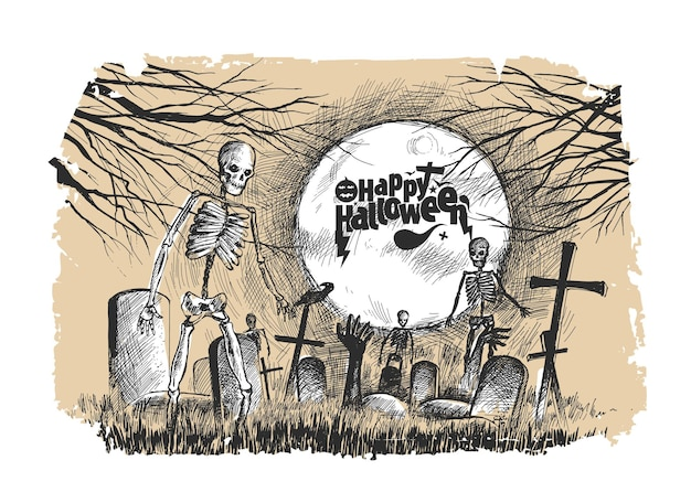 Scary graveyard with human skull- halloween background.