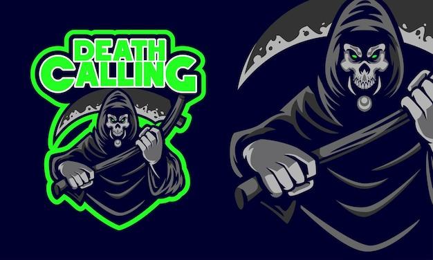 Scary grim reaper holding the death scythe sports logo mascot illustration