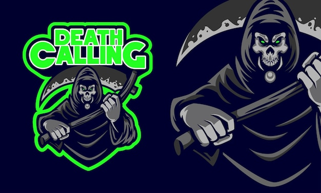 Страшный мрачный жнец держит косу смерти спортивный логотип талисман иллюстрации