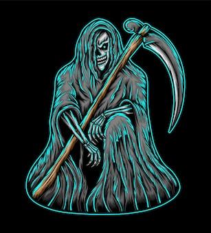 무서운 죽음의 신 그림입니다. 프리미엄 벡터