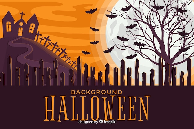 Scary halloween background in flat design