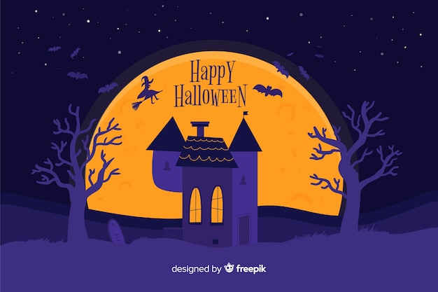 Scary halloween background on flat design